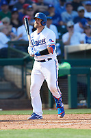 Tim Federowicz (50) of the Texas Rangers during a Cactus League Spring Training game against the Los Angeles Dodgers on March 8, 2020 at Surprise Stadium in Surprise, Arizona. Rangers defeated the Dodgers 9-8. (Tracy Proffitt/Four Seam Images)