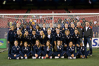 The United States (USA) U-17 women's national team pose for a photo after the conclusion of the game. The women's national team of the United States (USA) defeated the Republic of Ireland (IRL) 1-0 during an international friendly at Giants Stadium in East Rutherford, NJ on September 17, 2008. Photo by Howard C. Smith/isiphotos.com