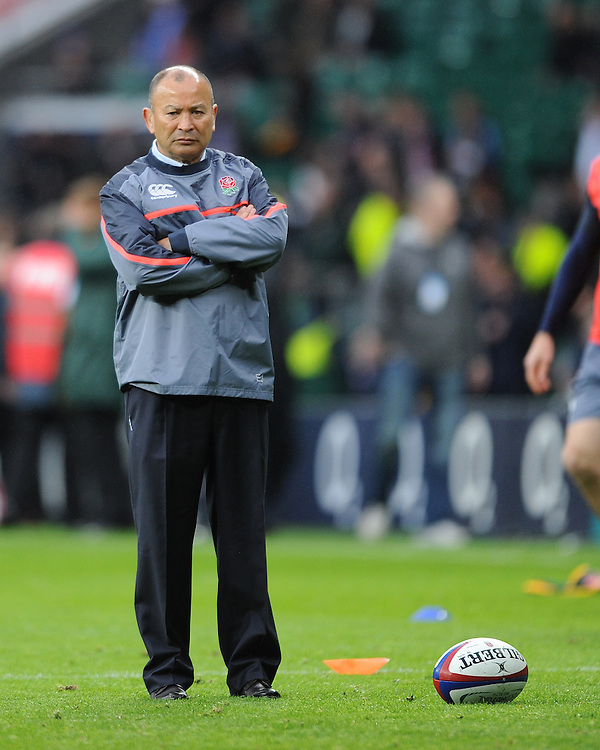 Eddie Jones, England Head Coach, looks on before the Old Mutual Wealth Series match between England and South Africa at Twickenham Stadium on Saturday 12th November 2016 (Photo by Rob Munro)