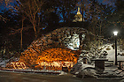 """Feb. 27, 2015; Candles at the Grotto are arranged to spell """"Ted"""" in reaction to the death of President Emertius Rev. Theodore M. Hesburgh, C.S.C. (Photo by Matt Cashore/University of Notre Dame)"""