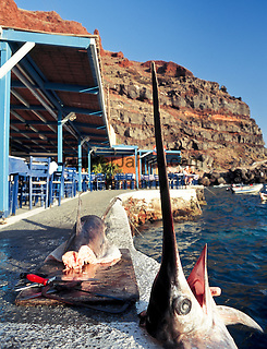 Greece; Cyclades; Santorini; Ammoudi; harbour beneath of Ia, freshly caught sword fish fillet at the pier   Griechenland; Kykladen; Santorini; Ammoudi: Hafen unterhalb von Ia, fangfrischer Schwertfisch direkt am Kai zerlegt
