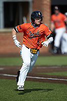 Collin Wolf (4) of the Campbell Camels hustles down the first base line against the Dayton Flyers at Jim Perry Stadium on February 28, 2021 in Buies Creek, North Carolina. The Camels defeated the Flyers 11-2. (Brian Westerholt/Four Seam Images)