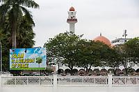 Islam a Religion of Peace,  Masjid (Mosque) Sultan Idris Shah II, Masjid Negeri Perak in background, Ipoh, Malaysia.