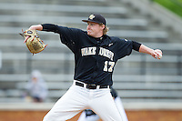 Wake Forest Demon Deacons starting pitcher John McLeod (17) delivers a pitch to the plate against the Florida State Seminoles at Wake Forest Baseball Park on April 19, 2014 in Winston-Salem, North Carolina.  The Seminoles defeated the Demon Deacons 4-3 in 13 innings.  (Brian Westerholt/Four Seam Images)