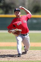 Boston Red Sox minor league player Michael Hacker #51 during a spring training game vs the Baltimore Orioles at the Buck O'Neil Complex in Sarasota, Florida;  March 22, 2011.  Photo By Mike Janes/Four Seam Images