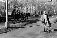 USA. New York. Central Park. An elderly man without pants is walking on a alley. A horse driven carriage. © 1986 Didier Ruef