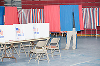 People vote in the New Hampshire Presidential Primary at Bedford High School in Bedford, New Hampshire, on Tue., Feb. 11, 2020.