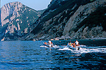 Italie. Italia. Sardaigne. Sardinia.zodiac e sur la côte sauvage du golfo di Orosei  (est de la sardaigne)