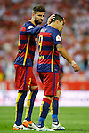 FC Barcelona's Luis Suarez (r) injured in presence of Gerard Pique during Spanish Kings Cup Final match. May 22,2016. (ALTERPHOTOS/Acero)