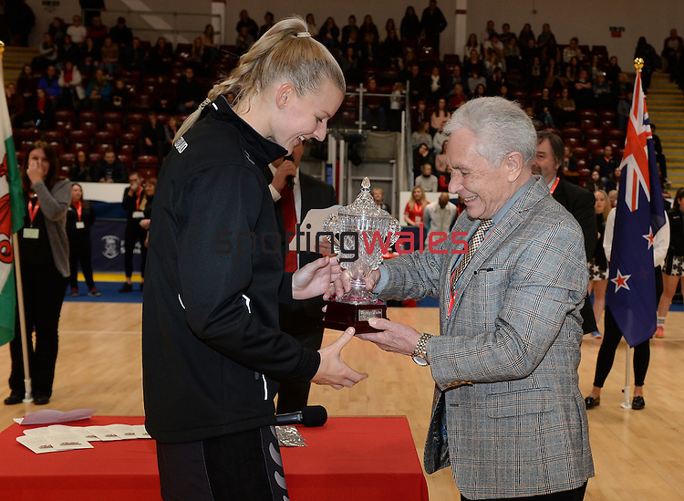 New Zealand's Katrina Grant (Capt) receives the trophy from Barrie White<br /> <br /> Swansea University International Netball Test Series: Wales v New Zealand<br /> Ice Arena Wales<br /> 08.02.17<br /> ©Ian Cook - Sportingwales