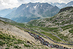 The breakaway group climb the Col du Galibier during Stage 18 of the 2019 Tour de France running 208km from Embrun to Valloire, France. 25th July 2019.<br /> Picture: ASO/Alex Broadway | Cyclefile<br /> All photos usage must carry mandatory copyright credit (© Cyclefile | ASO/Alex Broadway)
