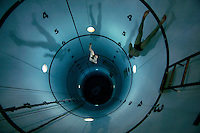 Freediving in a tank belonging to Royal Norwegian Navy Diving School at Haakonsvern Naval base, Norway.