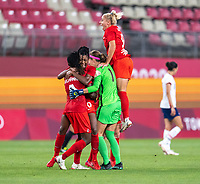 KASHIMA, JAPAN - AUGUST 2: Adriana Leon #9 of Canada celebrates after a game between Canada and USWNT at Kashima Soccer Stadium on August 2, 2021 in Kashima, Japan.