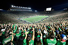September 1, 2018; ; Students cheer during the opening season game against Michigan. (Photo by Barbara Johnston/University of Notre Dame)