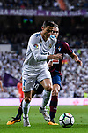 Cristiano Ronaldo (l) of Real Madrid fights for the ball with Joan Jordan Moreno of SD Eibar during the La Liga 2017-18 match between Real Madrid and SD Eibar at Estadio Santiago Bernabeu on 22 October 2017 in Madrid, Spain. Photo by Diego Gonzalez / Power Sport Images