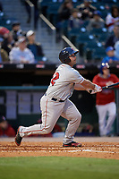 Pawtucket Red Sox catcher Dan Butler (12) bats during a game against the Buffalo Bisons on May 19, 2017 at Coca-Cola Field in Buffalo, New York.  Buffalo defeated Pawtucket 7-5 in thirteen innings.  (Mike Janes/Four Seam Images)