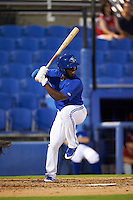 Dunedin Blue Jays outfielder J.D. Davis (5) at bat during the second game of a doubleheader against the Palm Beach Cardinals on July 31, 2015 at Florida Auto Exchange Stadium in Dunedin, Florida.  Dunedin defeated Palm Beach 4-0.  (Mike Janes/Four Seam Images)