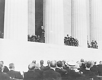 President of the United States Warren G. Harding speaks at the dedication of the Lincoln Memorial, in 1922