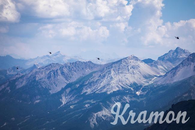 The Tour de France VIP helicopters above the Alps. <br /> <br /> Stage 18: Embrun to Valloire (208km)<br /> 106th Tour de France 2019 (2.UWT)<br /> <br /> ©kramon