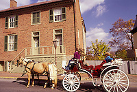AJ3134, horse-drawn carriage, Virginia, Lexington, A Carriage ride takes tourists through Historical Lexington in the state of Virginia.