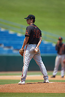 Karson Ligon (32) of Riverview HS in Sarasota, FL playing for the San Francisco Giants scout team during the East Coast Pro Showcase at the Hoover Met Complex on August 5, 2020 in Hoover, AL. (Brian Westerholt/Four Seam Images)