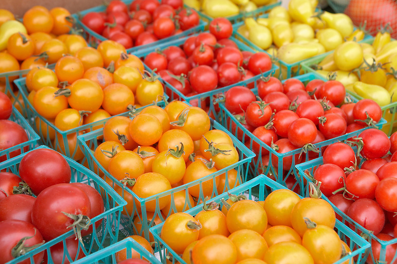 Variety of cherry tomatoes at Lake Oswego Farmers Market. Oregon
