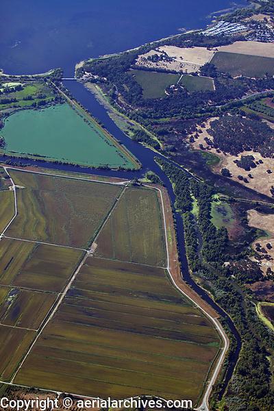 aerial photograph of Rodman Slough, North Lakeport, Lake County, California