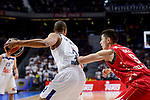Real Madrid's Anthony Randolph and Crvena Zvezda Mts Belgrade's Luka Mitrovic during Turkish Airlines Euroleague match between Real Madrid and Crvena Zvezda Mts Belgrade at Wizink Center in Madrid, Spain. March 10, 2017. (ALTERPHOTOS/BorjaB.Hojas)