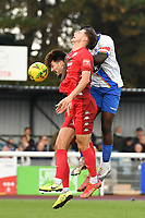 Jesse Starkey of Worthing heads the ball  during Enfield Town vs Worthing, Pitching In Isthmian League Premier Division Football at the Queen Elizabeth II Stadium on 16th October 2021