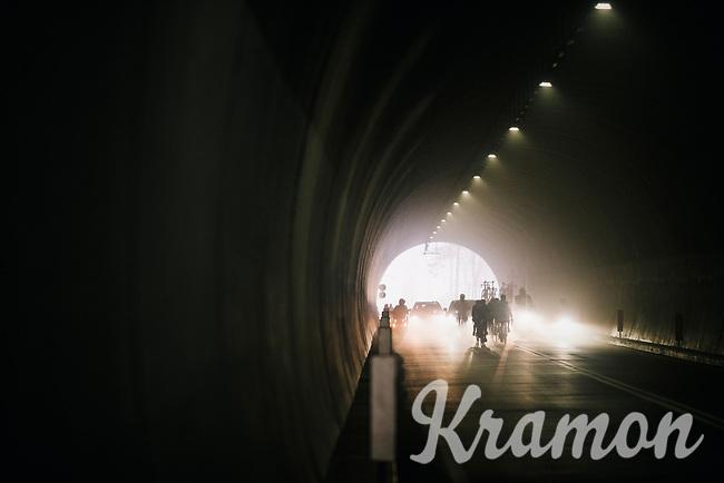 Mist in the Passo del Turchino tunnel (532m); the highest point of the race<br /> <br /> 109th Milano-Sanremo 2018<br /> Milano > Sanremo (291km)