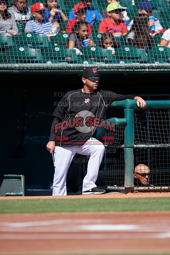 Inland Empire 66ers pitching coach Michael Wuertz (48) during a California League game against the Modesto Nuts on April 10, 2019 at San Manuel Stadium in San Bernardino, California. Inland Empire defeated Modesto 5-4 in 13 innings. (Zachary Lucy/Four Seam Images)