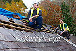 Mike Kelliher left and Thomas Leahy from Leahy construction repairing the roof at Muckross Rowing Club boathouse on Monday
