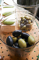 In the shop, olive soaps in the shape of olives. Moulin Mas des Barres olive mill, Maussanes les Alpilles, Bouches du Rhone, Provence, France, Europe