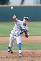 Grant Dyer (32) of the UCLA Bruins pitches during a game against the Arizona Wildcats at Jackie Robinson Stadium on May 16, 2015 in Los Angeles, California. UCLA defeated Arizona, 6-0. (Larry Goren/Four Seam Images)