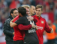 24.09.2017, Football 1. Bundesliga 2017/2018, 6. Match Day, Bayer 04 Leverkusen - Hamburger SV, in der BayArena Leverkusen. Jubel  Julian Brandt (Bayer Leverkusen) und  Kevin Volland (Bayer Leverkusen) celebrates scoring to 1:0 *** Local Caption *** © pixathlon +++ tel. +49 - (040) - 22 63 02 60 - mail: info@pixathlon.de<br /> <br /> +++ NED + SUI out !!! +++