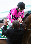 BALTIMORE, MD - MAY 21: Florent Geroux, aboard American Freedom #5, is congratulated by assistant trainer Jimmy Barnes after winning the LARC Sir Barton Stakes at Pimlico Race Course on May 21, 2016 in Baltimore, Maryland. (Photo by Sue Kawczynski/Eclipse Sportswire/Getty Images)