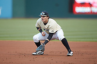 Wake Forest Demon Deacons first baseman Bobby Seymour (3) on defense against the Charlotte 49ers at BB&T BallPark on March 13, 2018 in Charlotte, North Carolina.  The 49ers defeated the Demon Deacons 13-1.  (Brian Westerholt/Four Seam Images)