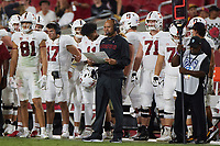 LOS ANGELES, CA - SEPTEMBER 11: Head coach David Shaw of the Stanford Cardinal strategizes on plays during a game between University of Southern California and Stanford Football at Los Angeles Memorial Coliseum on September 11, 2021 in Los Angeles, California.