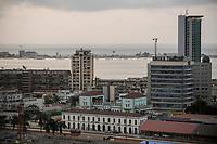 ANGOLA Luanda, Angola telecom office tower and Ilha do Luanda with atlantic ocean