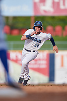 Lake County Captains center fielder Austen Wade (24) runs the bases during the first game of a doubleheader against the South Bend Cubs on May 16, 2018 at Classic Park in Eastlake, Ohio.  South Bend defeated Lake County 6-4 in twelve innings.  (Mike Janes/Four Seam Images)