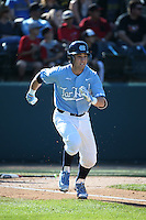 Logan Warmoth (7) of the North Carolina Tar Heels runs to first base during a game against the UCLA Bruins at Jackie Robinson Stadium on February 20, 2016 in Los Angeles, California. UCLA defeated North Carolina, 6-5. (Larry Goren/Four Seam Images)