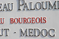 Detail of the road sign Chateau Paloumey Haut-Medoc Ludon Medoc Bordeaux Gironde Aquitaine France