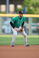 Norfolk Tides shortstop Jack Reinheimer (3) during an International League game against the Buffalo Bisons on June 21, 2019 at Sahlen Field in Buffalo, New York.  Buffalo defeated Norfolk 1-0, the second game of a doubleheader.  (Mike Janes/Four Seam Images)
