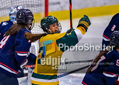 8 February 2020: University of Vermont Catamount Forward Kristina Shanahan, a Junior from Ste-Anne-de-Bellevue, Québec, celebrates a third period goal against the University of Connecticut Huskies at Gutterson Fieldhouse in Burlington, Vermont. The Huskies defeated the Lady Cats 4-2 in the first game of their weekend Hockey East series. Mandatory Credit: Ed Wolfstein Photo *** RAW (NEF) Image File Available ***