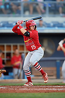 Palm Beach Cardinals second baseman Andy Young (15) at bat during a game against the Charlotte Stone Crabs on April 21, 2018 at Charlotte Sports Park in Port Charlotte, Florida.  Charlotte defeated Palm Beach 5-2.  (Mike Janes/Four Seam Images)