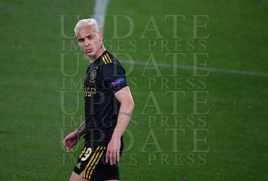 Football: Europa League - quarter final 2nd leg AS Roma vs Ajax, Olympic Stadium. Rome, Italy, March 15, 2021.<br /> Ajax's  Antony reacts during the Europa League football match between Roma at Rome's Olympic stadium, Rome, on April 15, 2021.  <br /> UPDATE IMAGES PRESS/Isabella Bonotto