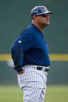 Charlotte Knights manager Chris Chambliss #10 in the third base coaches box during a game against the Columbus Clippers at Knights Stadium May 25, 2010, in Fort Mill, South Carolina.  Photo by Brian Westerholt / Four Seam Images
