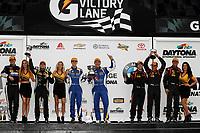 IMSA Continental Tire SportsCar Challenge<br /> BMW Endurance Challenge at Daytona<br /> Daytona Beach, Florida, USA<br /> Friday 26 January 2018<br /> ST Class podium #55 Murillo Racing, Porsche Cayman, ST: Tim Probert, Brent Mosing, Justin Piscitell #81 BimmerWorld Racing, BMW 328i, ST: Nick Galante, Devin Jones, #21 Bodymotion Racing, Porsche Cayman, ST: Max Faulkner, Jason Rabe<br /> World Copyright: Michael L. Levitt<br /> LAT Images<br /> <br /> ref: Digital Image _01I7564