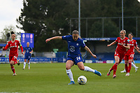 2nd May 2021; Kingsmeadow, London, England; Fran Kirby of Chelsea shoots and scores first goal for Chelsea during the UEFA Womens Champions League Semi Final game between Chelsea and Bayern Munich at Kingsmeadow