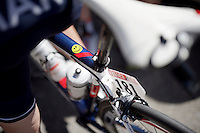Mathias Frank (SUI/IAM) has a reminder on his top-tube that will keep him smiling!<br /> <br /> stage 16: Bourg de Péage - Gap (201km)<br /> 2015 Tour de France